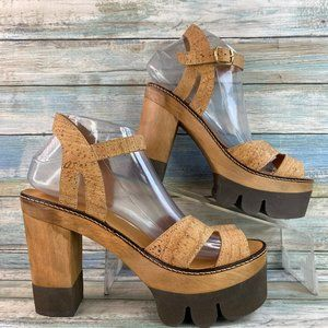 JN Cork Brown Leather Platform Sandals.